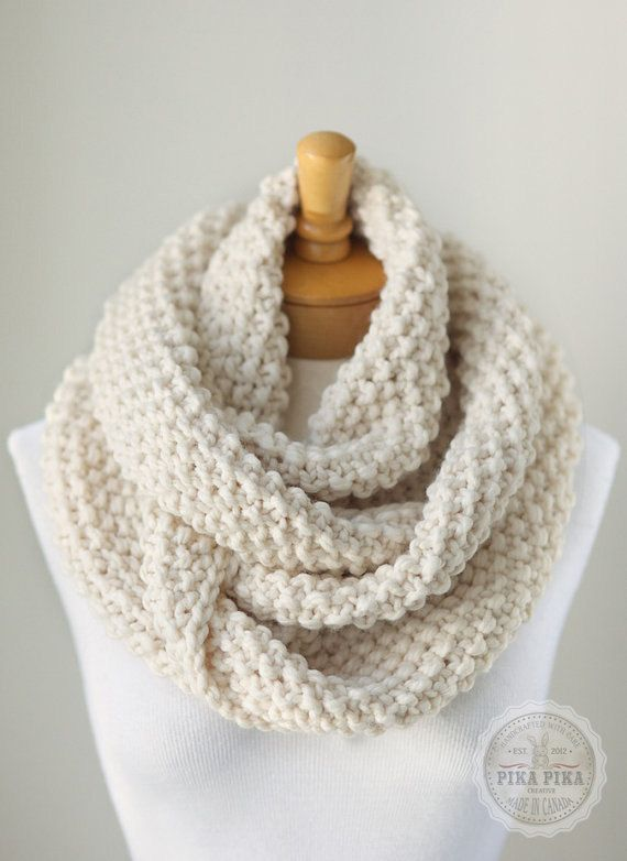 Knitting Pattern For Thick Scarf : Knit infinity scarf, chunky knitted infinity scarf in Vanilla or Cream, chunk...
