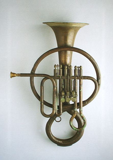 Bass Fluegel Horn in B-flat  Maker: Ferdinando Roth (Italian)  Date: 1850–60  Geography: Italy  Medium: Brass