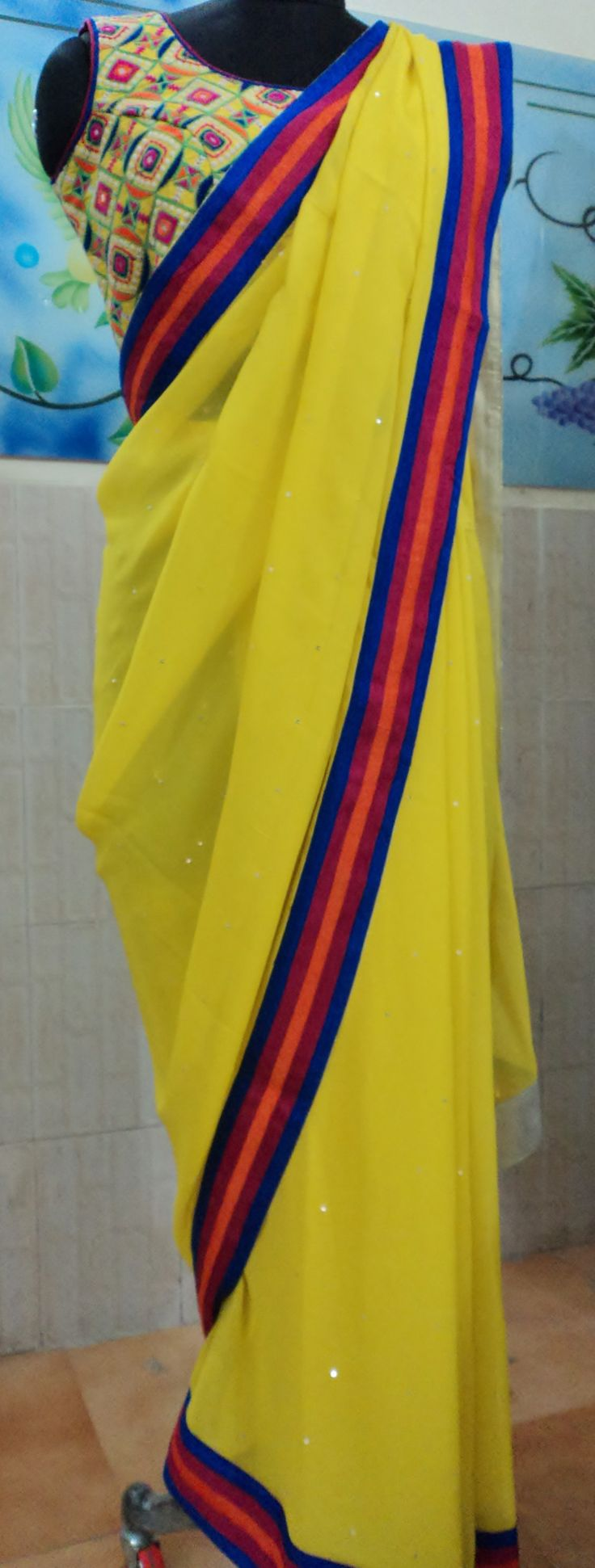 Multicolored Bordered Summer Saree with Mirror work Blouse.....All by AVEN