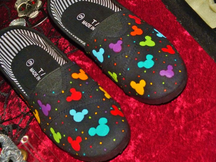 Hand Painted Mickey Mouse Canvas Shoes by singitout on Etsy, $35.00