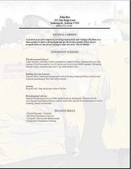 Resume Templates For Labor