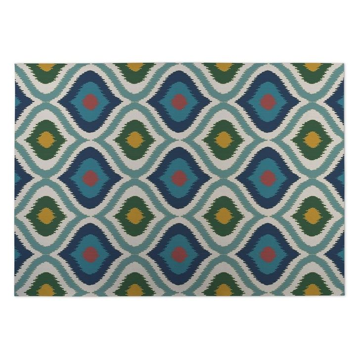 Kavka Designs Blue/ Pink/ Yellow/ Green Ikat Ogee 2' x 3' Indoor/ Outdoor Floor Mat (Blue - N/A - Bohemian) (Polyester)