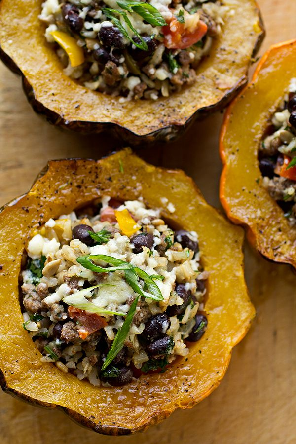 Stuffed Acorn Squash   filled with brown rice + black beans + sharp cheddar = healthy food perfection