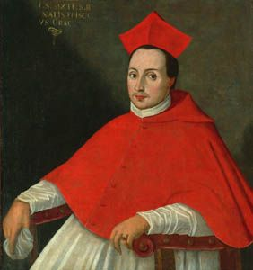 Юрий Радзивилл (1556-1600).Епископ виленский (1579), краковский (1591), кардинал римской церкви (1584), Инфлянтский наместник (1582-1584), дипломат. Конец 16 в. Х.м. 95х87