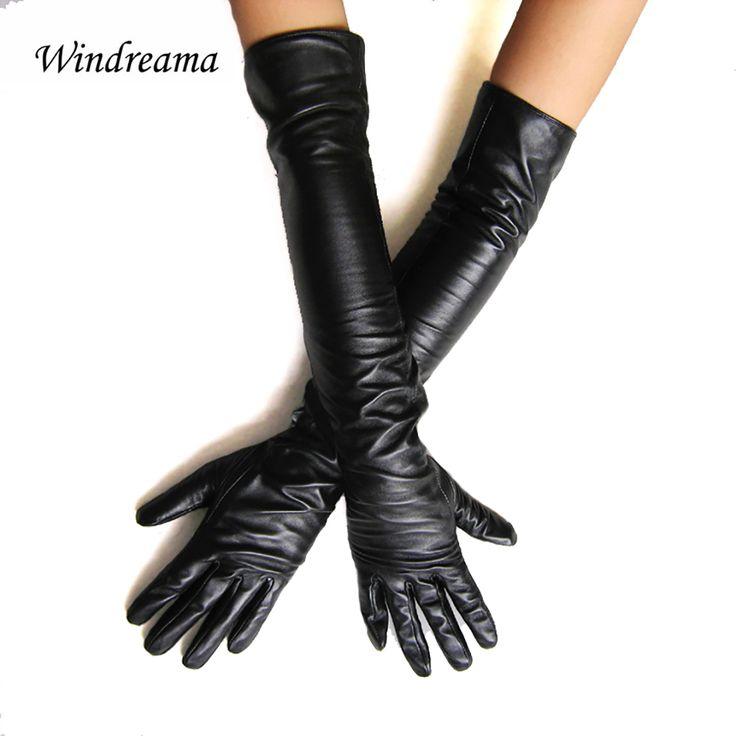 Windreama Femmes de faux cuir longs gants ultra longue ceinture de mode long de conception de femmes en cuir gants femmes 50 cm