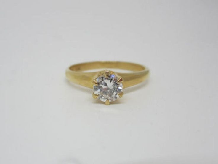 Awesome 14K Yellow Gold Amazing Round Cut 0.50 ct Wedding Engagement Ring #GoldJewellery17 #Simulated