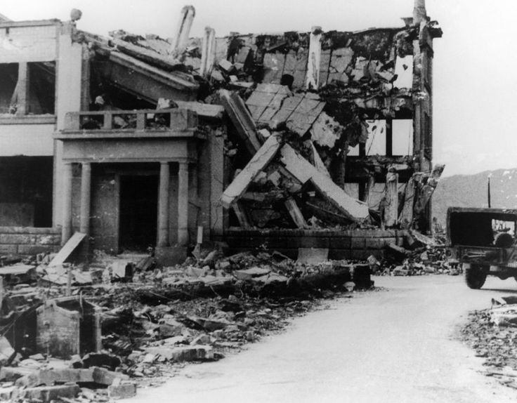 View in August 1945 of a building in Hiroshima, Japan after the explosion of the American atomic bomb. This building was 180 meters from the epicenter of the explosion. The buildings from a kilometer and a half to four kilometers away from the center of