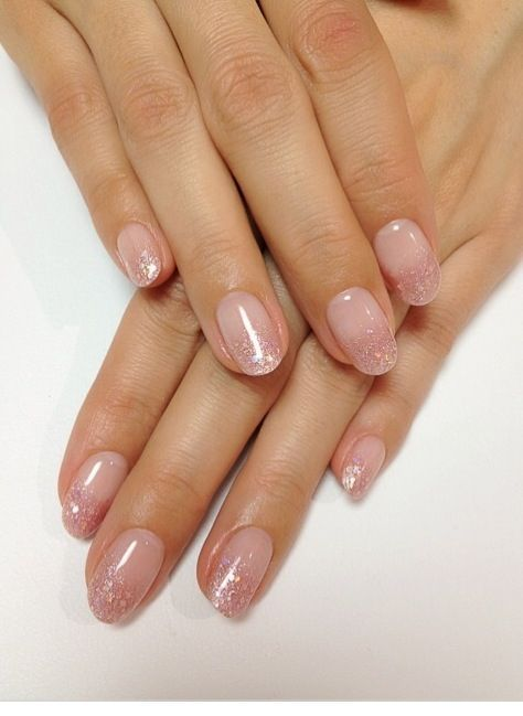nuetral nail designs | Neutral pink glitter fade nails