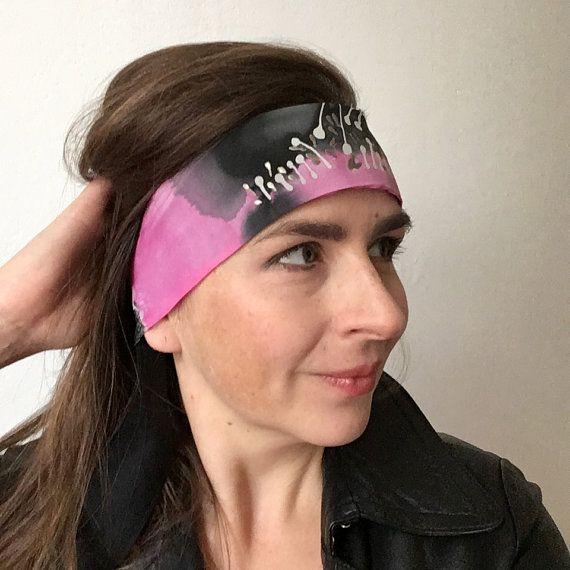 Black silk headband pink headband hand painted silk by dagamara