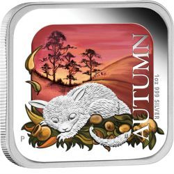 Australian Seasons - Autumn 2013 1oz Silver Proof Square Coin #AVeryMintChristmas My favourite Australian season is Autumn. I love the cool evenings, yet the days are still warm. We spend so much time outside and enjoy the first rains. The kids splash in puddles and jump through leaves. The warm, soft colours in this coin are so reminiscent of those things I love.