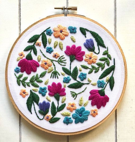 This PDF file contains an embroidery pattern and tips for getting started with embroidery! This pattern is for personal use only. Please do not resell. This is a pattern for my floral hoop featuring floral elements and patterns. The pattern also includes a color guide and stitch #embroiderypatterns