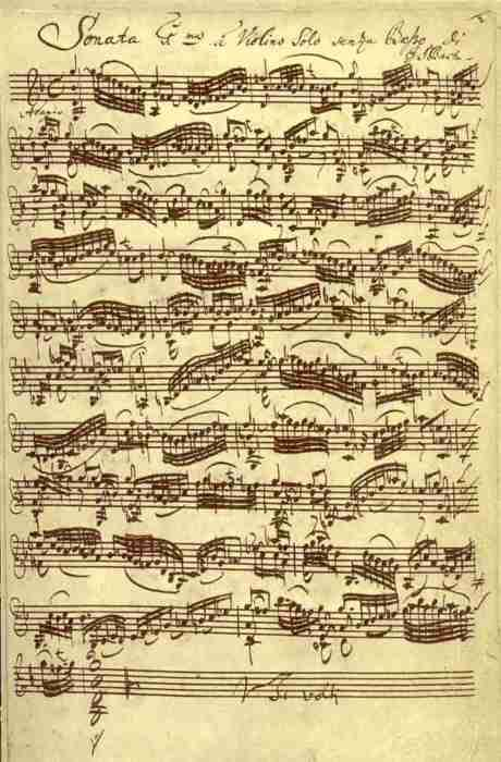 Bach Sonata No.1 in G minor for unaccompanied Violin, original manuscript