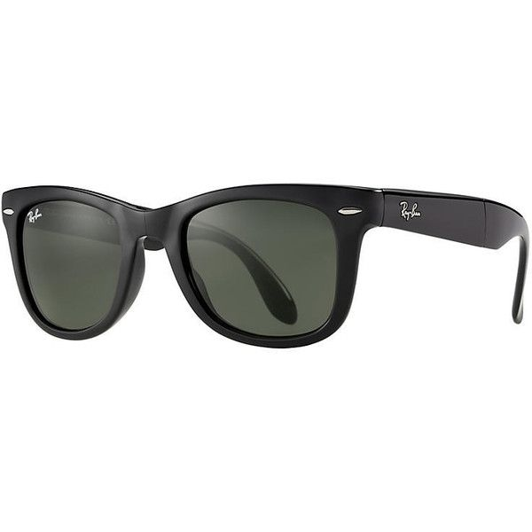 Ray-Ban Wayfarer Folding Classic Black Sunglasses, Green Lenses -... ($150) ❤ liked on Polyvore featuring accessories, eyewear, sunglasses, black, folding sunglasses, folding wayfarer, ray-ban wayfarer, ray ban sunnies and ray ban eyewear