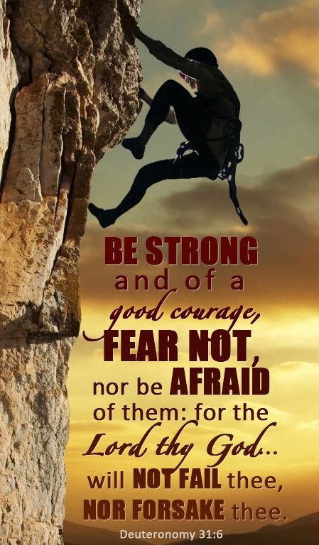 Deuteronomy 3:16 (NIV) - Be strong and courageous. Do not be afraid or terrified because of them, for the Lord your God goes with you; he will never leave you nor forsake you.""