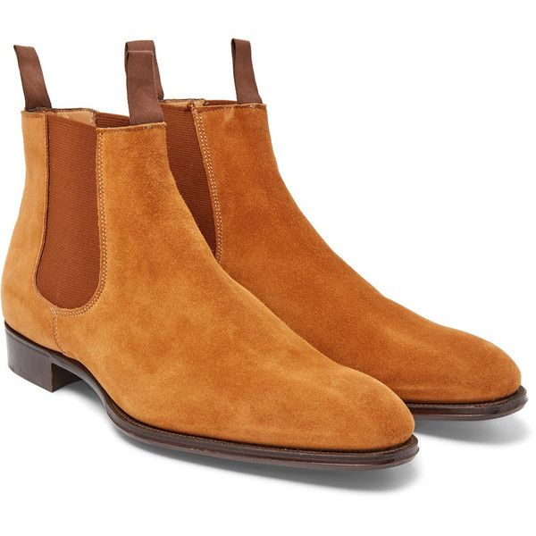 Kingsman + George Cleverley Jason Suede Chelsea Boots (€795) ❤ liked on Polyvore featuring men's fashion, men's shoes, men's boots, mens navy suede shoes, mens tan suede chelsea boots, mens suede boots, mens slipon shoes and mens slip on boots