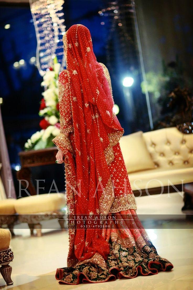 Pakistani red wedding sharara dress   Irfan Ahson Photography