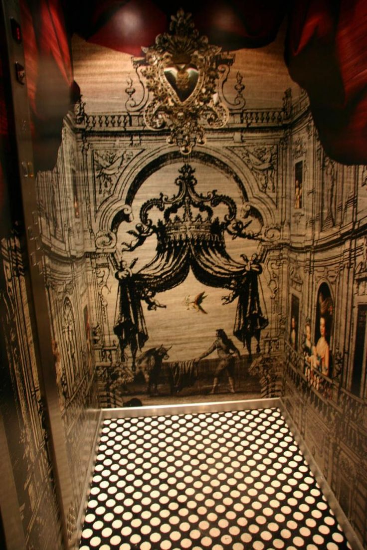 The elevator lift in le petit moulin hotel in paris designed by christian lacroix