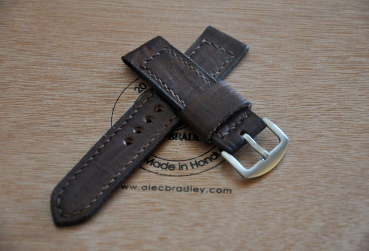 Dark Brown Vintage ammo style handmade leather watch strap 22 mm by CentaurStraps on Etsy