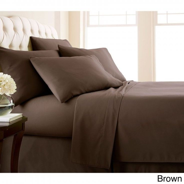 Queen 6-piece Sheet Set Extra Deep Pocket Flat Fitted Pillowcase Chocolate  #Southshore #Contemporary