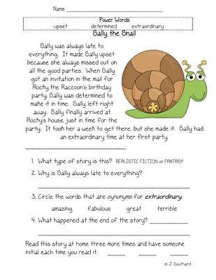 Printables 1st Grade Comprehension Worksheets 1000 images about first grade reading on pinterest fluency snail comprehension