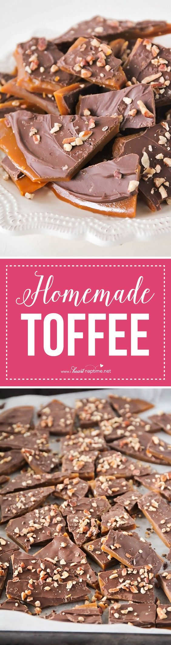 Homemade Toffee... this rich and buttery toffee takes about thirty minutes to make and is super easy too! Perfect for parties, holiday gifts, and snacking!