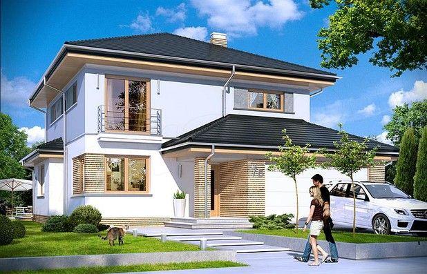 Dom jest zaprojektowany dla rodziny 4-5cio-osobowej. Jest to piętrowy budynek, zbudowany na planie kwadratu przekrytego kopertowym dachem, z wbudowanym w bryłę garażem, z parterowymi dobudówkami i wykuszami.