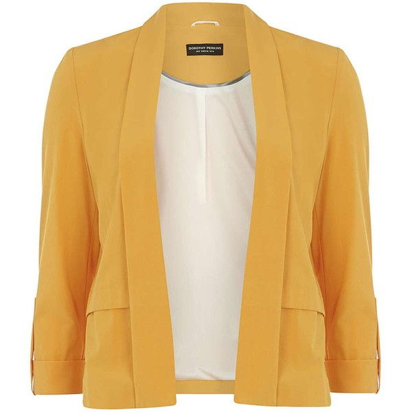 Dorothy Perkins Yellow Waterfall Jacket with Tab ($26) ❤ liked on Polyvore featuring outerwear, jackets, blazers, yellow, yellow jacket, dorothy perkins and waterfall jacket