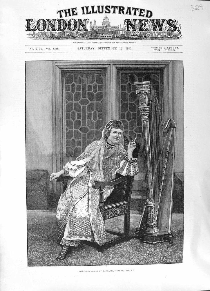 Antique Print of of 1891 Portrait Elizabeth Roumania Queen Carmen Sylva