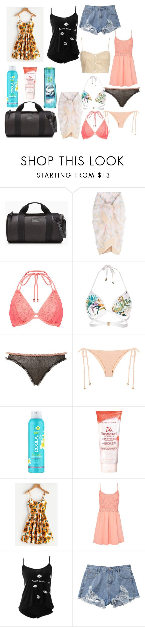 """weekend trip"" by ivelletjei ❤ liked on Polyvore featuring Rebecca Minkoff, La Perla, River Island, Topshop, Beach Riot, COOLA Suncare, Herbal Essences, Bumble and bumble and Leith"