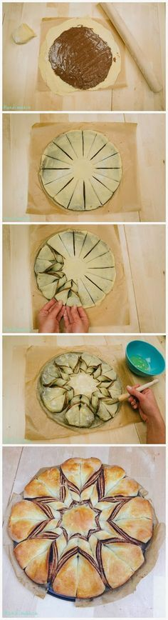 Nutella Star Bread. Also a step by step video: http://pinterest.com/pin/495888608944270111/