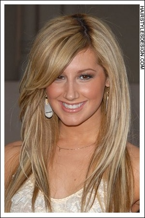 Details:  Hair Style: Ashley Tisdale's hair is long and straight. Her hair part goes off center with the hair falling long all around. This formal style is romantic and a great style for a prom or homecoming.  Hair Cut: Ashley's hair has been cut long.  Hair Colour: Ashley's hair colour is a two toned blonde.
