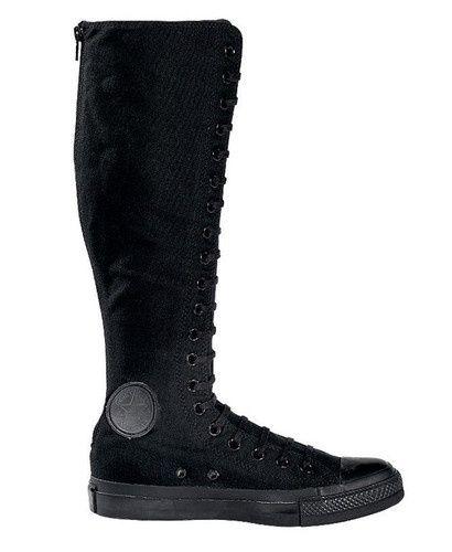 CONVERSE Chuck Taylor ALL-STAR Knee-High Boots ALL BLACK MONO *Rare!* BRAND NEW