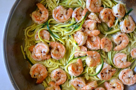 Skinny Shrimp Scampi with Zucchini Noodles Recipe | Just a Taste