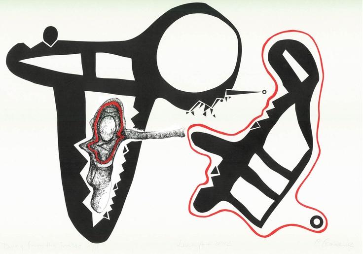 "Open Art Warsaw Artist: Piotr Pasiewicz, Linocut+, 2012, ""Dying from the inside 1/1"",   100x70"