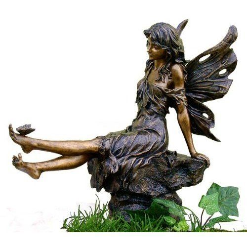 Fairy Playing W/ Butterfly   Indoor / Outdoor Statue Sculpture Figure Tall