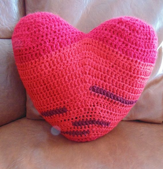 crochet heart pillow check out my facebook page www.facebook.com/delia.crochet