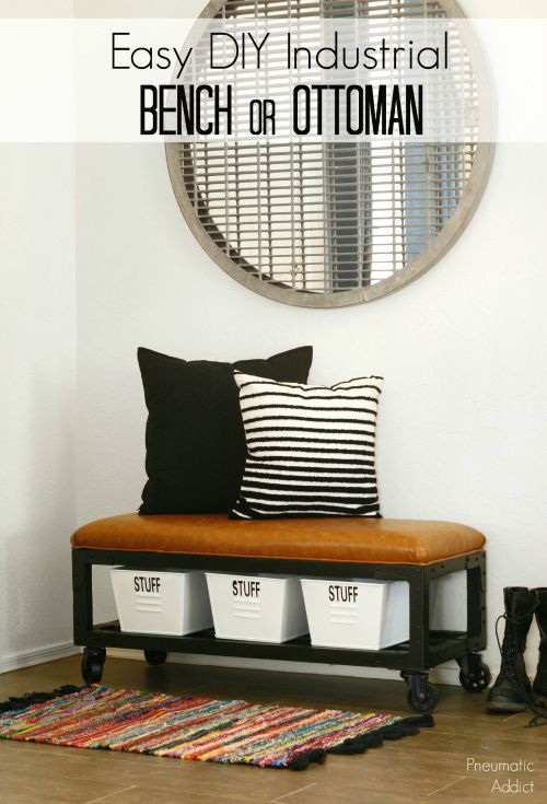 Learn how to make this easy industrial style, upholstered bench or ottoman. FREE building plans!