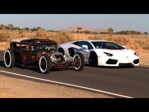 The comparo of the Lambo and the rat rod that went viral!