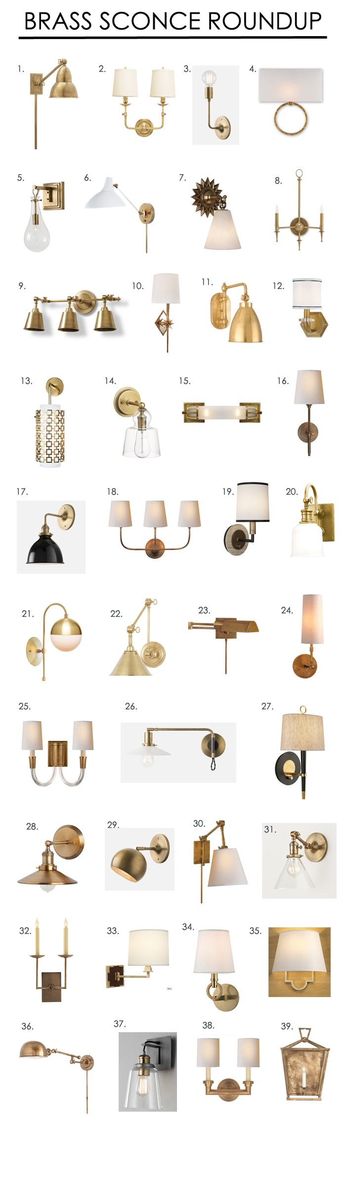 I spend a lot of time every day sourcing lighting for my clients, as of late most of them have begun sharing my love of brass fixtures- particularly sconces! So I thought I'd do a round up of tons of my favorite brass sconces. If there are any other products you'd be interested in me …