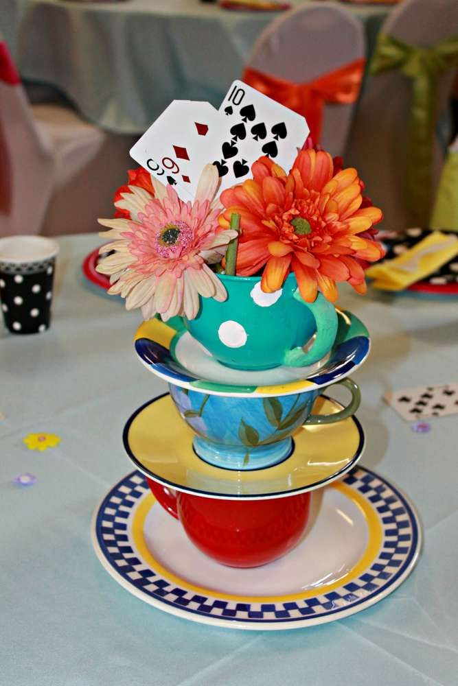 Alice in Wonderland birthday party centerpiece! See more party ideas at CatchMyParty.com!