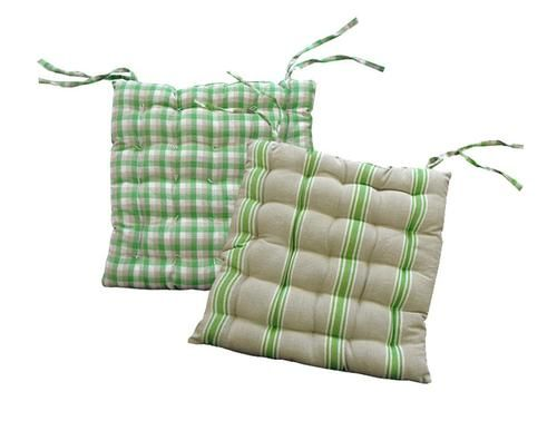 """15"""""""" Green White and Beige Striped Reversible Indoor Chair Cushion with Ties"""