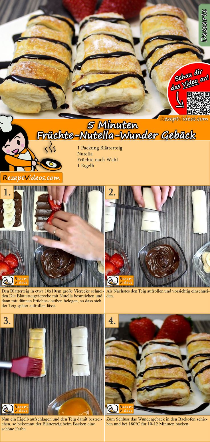 5 Minuten Frucht-Nutella-Wunder-Rezept mit Video   – DESSERT Rezepte mit Videos, mit Rezeptkarten