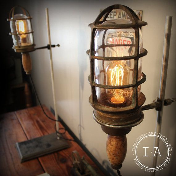 Vintage Industrial Lovell Brass Trouble Lamp on Chemistry Lab Stand Steampunk Torchiere on Etsy, $415.00