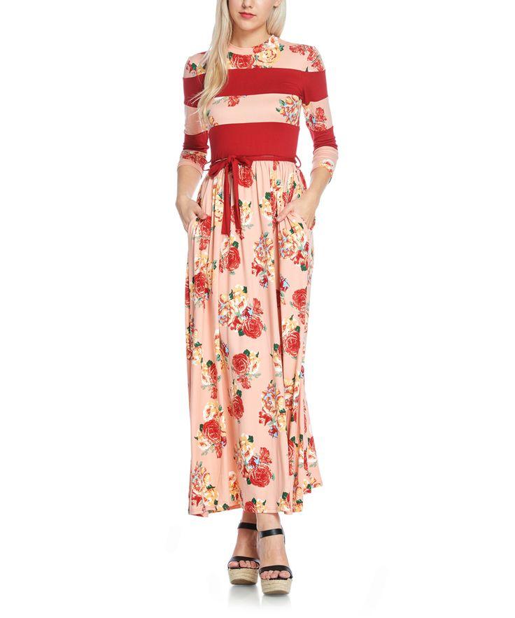Blush & Red Floral Stripe Pocket Maxi Dress