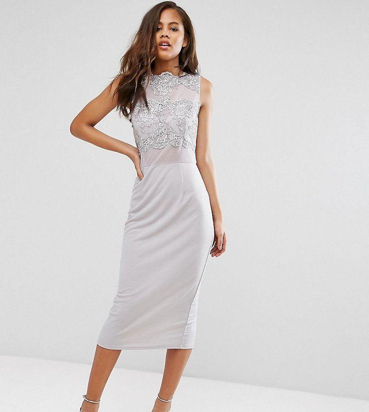 Club L Tall Allover Lace Applique Top Midi Pencil Dress - Gray