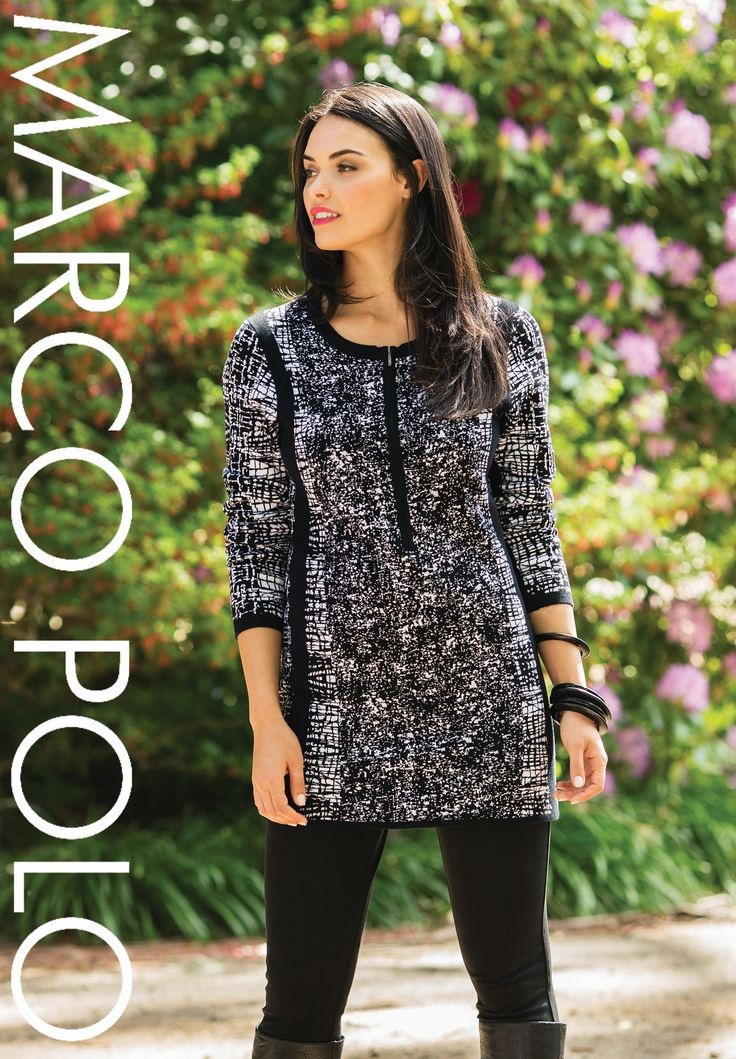 Black and White never go out of style. Our stunning Graphic Ponte Tunic has arrived in stores and going to be a winner. Wear with leggings and boots for total weekend comfort. Please call 03 9902 5100 to locate your nearest stockist or shop online today at http://www.marcopolo.net.au/ (Style Number: YTMW53063)
