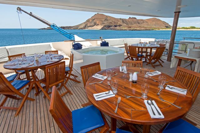 Queen B, our private #Galapagos Catamaran/Yacht #gaytravel #outadventures #gaytour #yachtlife #guysthatTravel #OUTinEcuador http://www.out-adventures.com/trip/lesbian-and-gay-ecuador-galapagos-gay-cruise/