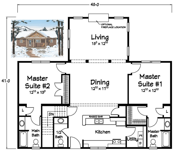 Two Master Suites Ranch Plans Pinterest Kitchen
