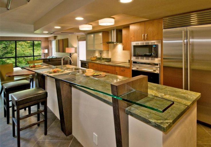 Furniture. Cozy Design Glass Kitchen Counters Ideas. Enchanting Design Kitchen Countertops Ideas features Rectangle Shape Glass Kitchen Countertop and Green Color Granite Kitchen Island Top