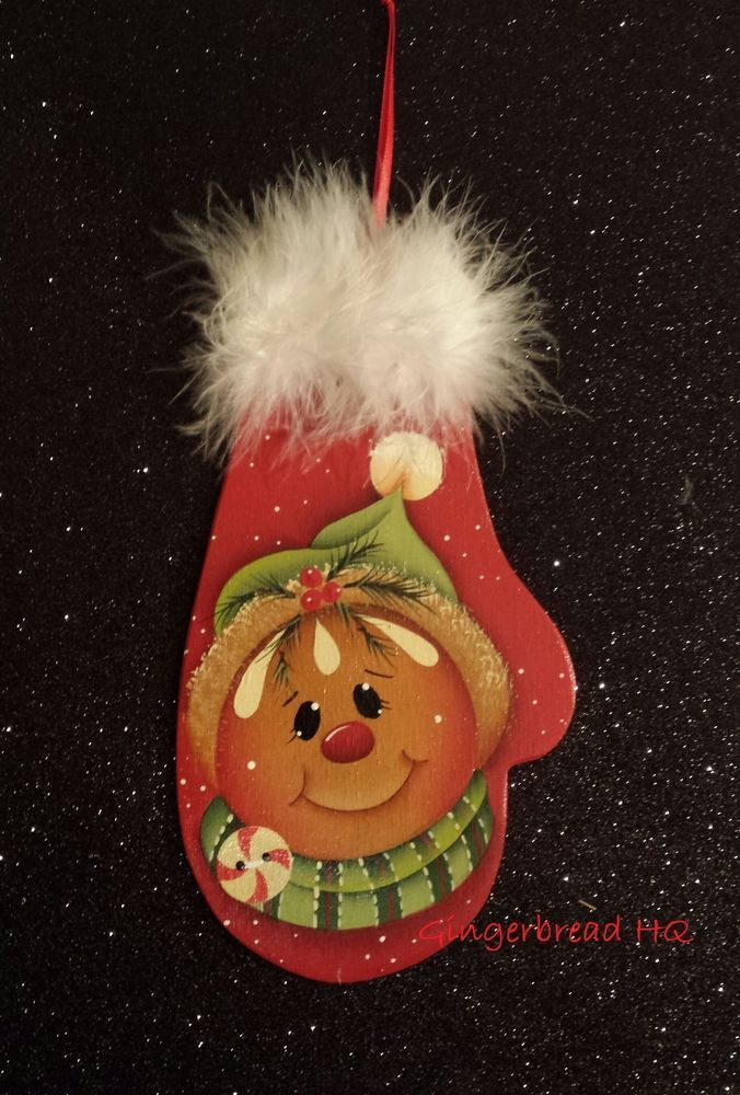 HP gingerbread wooly winter mittens wooden christmas orrnament hand painted